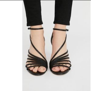 Free People Disco Fever Leather Sandals Heels Sz 8